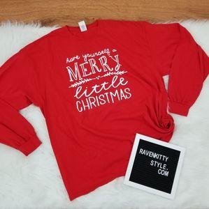 Merry Little Christmas Long Sleeve Plus Size Tee